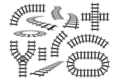 Railroad elements. Curved, straight and wavy rail tracks. Railway rail