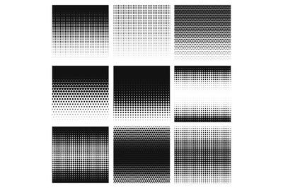 Halftone. Gradient halftone dots graphic, digital technology pattern.