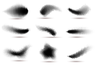 Halftone shapes. Curved dotted spots with halftone circle dot gradient