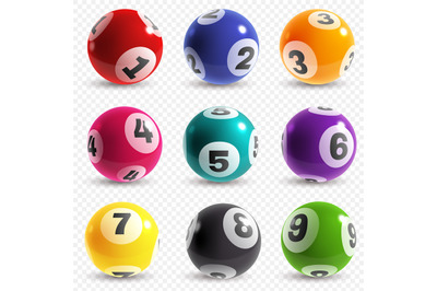 Lottery balls. Lotto game balls with numbers, bingo lucky instant jack