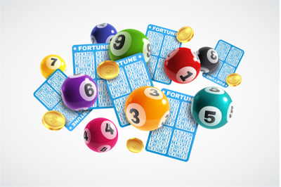 Lottery banner. Realistic lottery tickets and drawing balls, lucky ins