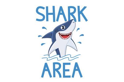 Shark poster. Warning attack sharks, ocean diving and sea surf, slogan
