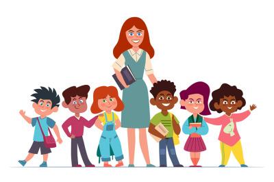 Teacher with children. Happy multiethnic girls and boys schoolchildren