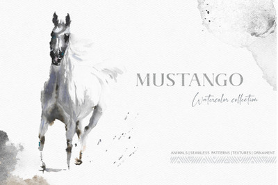 Mustango Watercolor Wild Animals Set