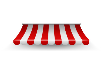 Shop awning. Shopping striped tent for market grocery or restaurant, v