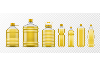 Vegetable oil bottle. Different packaging plastic bottles with yellow