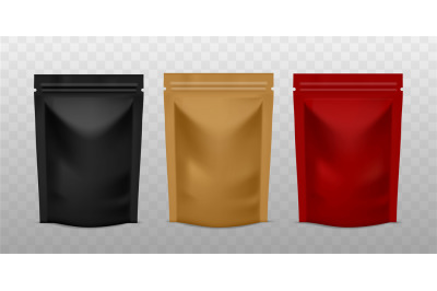 Plastic sachet pouch. Coffee zip package golden, black and red color,