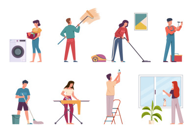 People cleaning. Housework cleaning company service, men and women doi