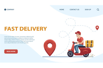 Delivery landing page. Courier, guy on moped against backdrop of citys