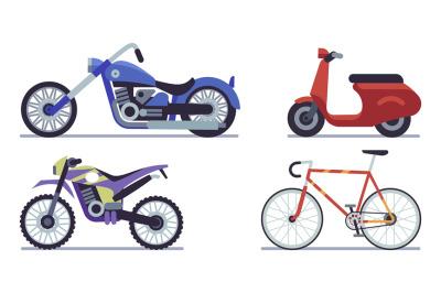 Set of moto bike. Bicycle, scooter, cross bike and chopper vector illu