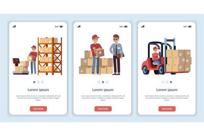 Warehouse for mobile app. Logistic theme transportation and forklift,