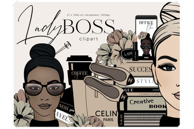 Girl Boss Clipart - Fashion Illustration