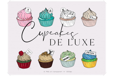 Cupcakes Clipart - Luxury Brands Fashion Illustration
