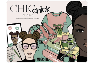 Geek Girl Clipart - Fashion Illustration