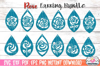 Rose Earring Bundle, Cutting Files Faux leather Earring