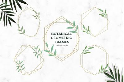 Botanical Gold Geometric Frames