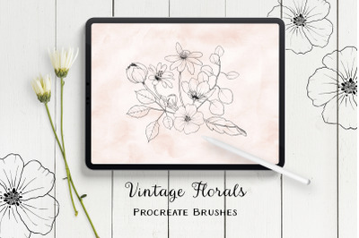 Vintage Florals Procreate Brushes - Stamp Brushes