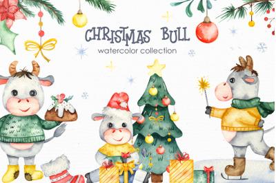 Christmas bull Watercolor Clipart