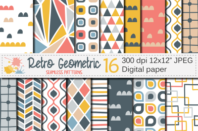 Retro geometric seamless patterns, Blue Coral Yellow