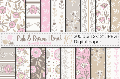 Pink and brown floral seamless patterns / digital paper