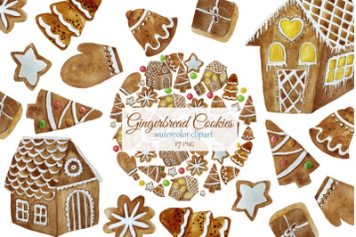 Christmas Gingerbread Cookies Clipart. Gingerbread House