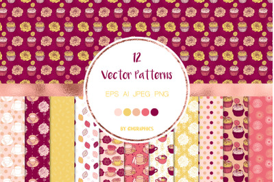 12 Roses, Tea cups and Cupcakes Vector Patterns