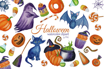 Watercolor Cute Halloween Clipart. Witch clip art. Children Halloween