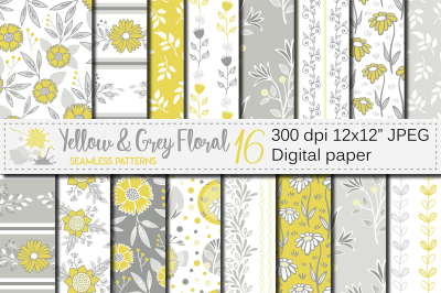 Yellow and Gray floral seamless patterns / digital paper