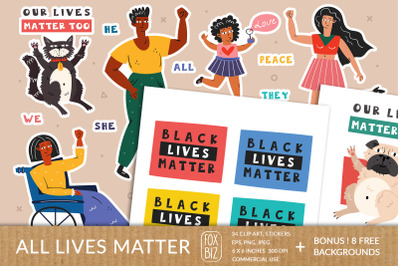 All lives matter. People and animals. Digital prints.
