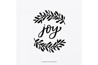 Christmas SVG | Laurel Branch SVG | Leaves Clip Art | Joy SVG | Svg Cu