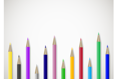 Color pencils art banner poster with place for text
