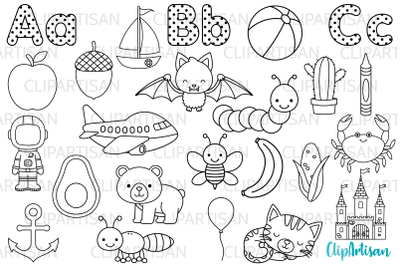 Alphabet Clip Art, ABC Illustrations, Digital Stamps