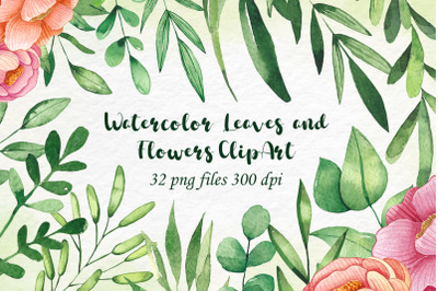 Watercolor Leaves and flowers Clip art