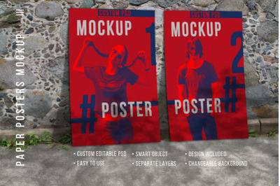 Two Paper posters  Mockup