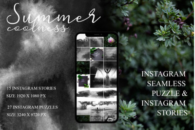 Summer coolness - instagram seamless puzzle and 15 animated stories
