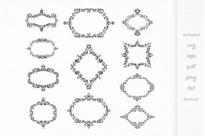 Vintage Floral Frames  Vector  SVG