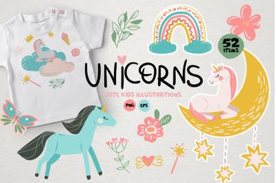 Unicorn - Baby illustrations