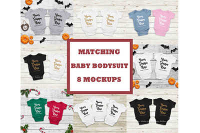 Matching Baby Bodysuit Mockup Bundle, Newborn Halloween Mock Up