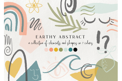 100+ earthy abstract design elements - floral illustrations, geometric