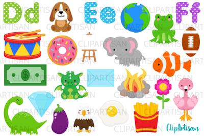 Alphabet Clip Art, ABC Illustrations, A to Z, DEF Letters