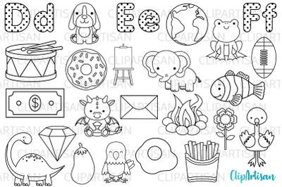Alphabet Digital Stamps, ABC Clipart, A to Z, DEF Letters