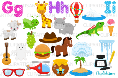 Alphabet Clip Art, ABC Illustrations, A to Z, GHI Letters