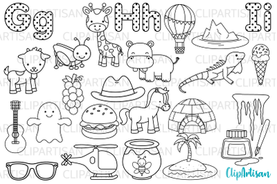 Alphabet Digital Stamps, ABC Clipart, GHI Letters