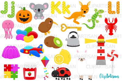 Alphabet Clip Art, ABC Illustrations, A to Z, JKL Letters