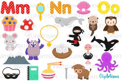 Alphabet Clip Art, ABC Illustrations, A to Z, MNO Letters
