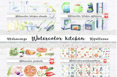 Watercolor kitchen