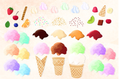 Ice cream clipart Cones and scoops colorful Ice cream constructor