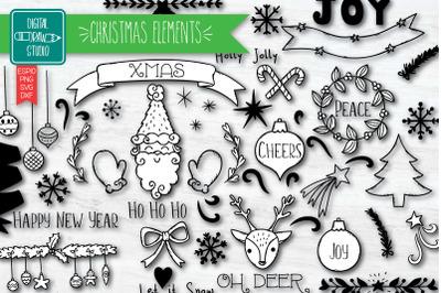 Christmas Elements | Hand Drawn Ornaments | Decorative Holiday