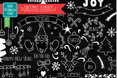Christmas Elements White | Hand Drawn Ornaments | Decorative Holiday