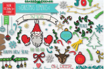 Christmas Elements Color | Hand Drawn Ornaments | Decorative Holiday
